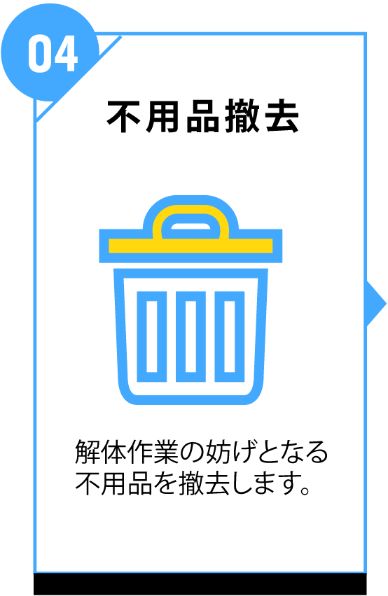 不用品撤去 解体作業の妨げとなる不用品を撤去します。